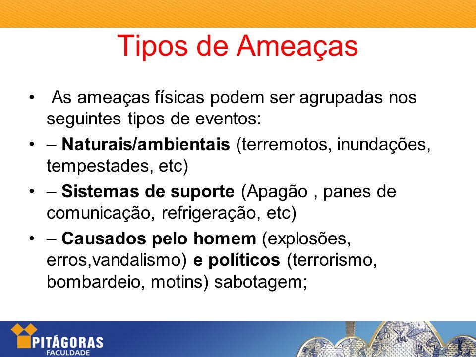 Tipos de Ameaças As ameaças físicas podem ser agrupadas nos seguintes tipos de eventos: – Naturais/ambientais (terremotos, inundações, tempestades, et