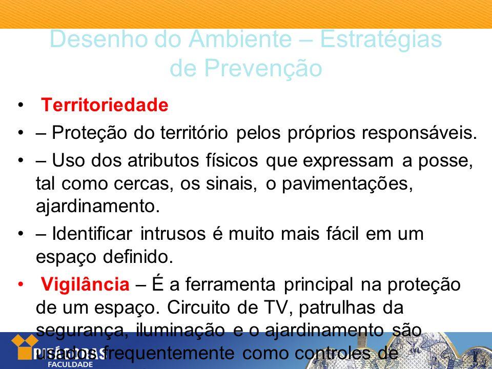 Desenho do Ambiente – Estratégias de Prevenção Territoriedade – Proteção do território pelos próprios responsáveis. – Uso dos atributos físicos que ex