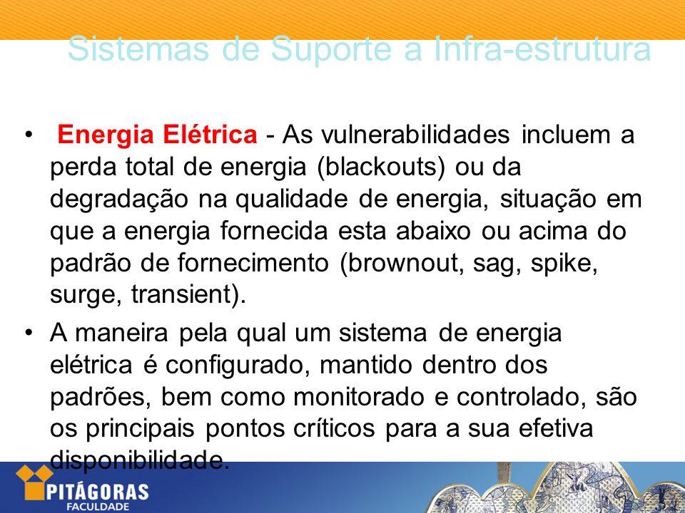Sistemas de Suporte a Infra-estrutura Energia Elétrica - As vulnerabilidades incluem a perda total de energia (blackouts) ou da degradação na qualidad