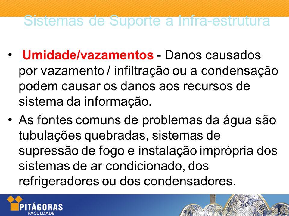Sistemas de Suporte a Infra-estrutura Umidade/vazamentos - Danos causados por vazamento / infiltração ou a condensação podem causar os danos aos recur
