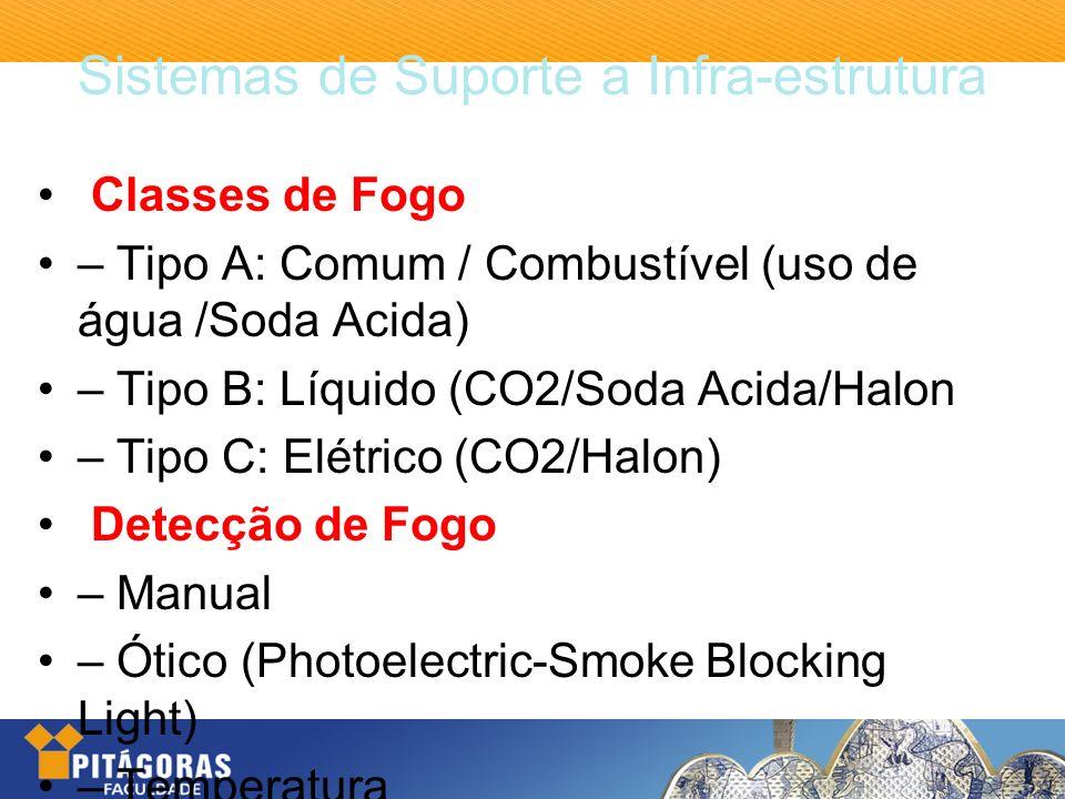 Sistemas de Suporte a Infra-estrutura Classes de Fogo – Tipo A: Comum / Combustível (uso de água /Soda Acida) – Tipo B: Líquido (CO2/Soda Acida/Halon