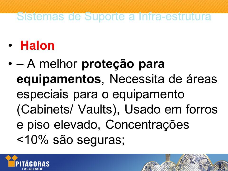 Sistemas de Suporte a Infra-estrutura Halon – A melhor proteção para equipamentos, Necessita de áreas especiais para o equipamento (Cabinets/ Vaults),