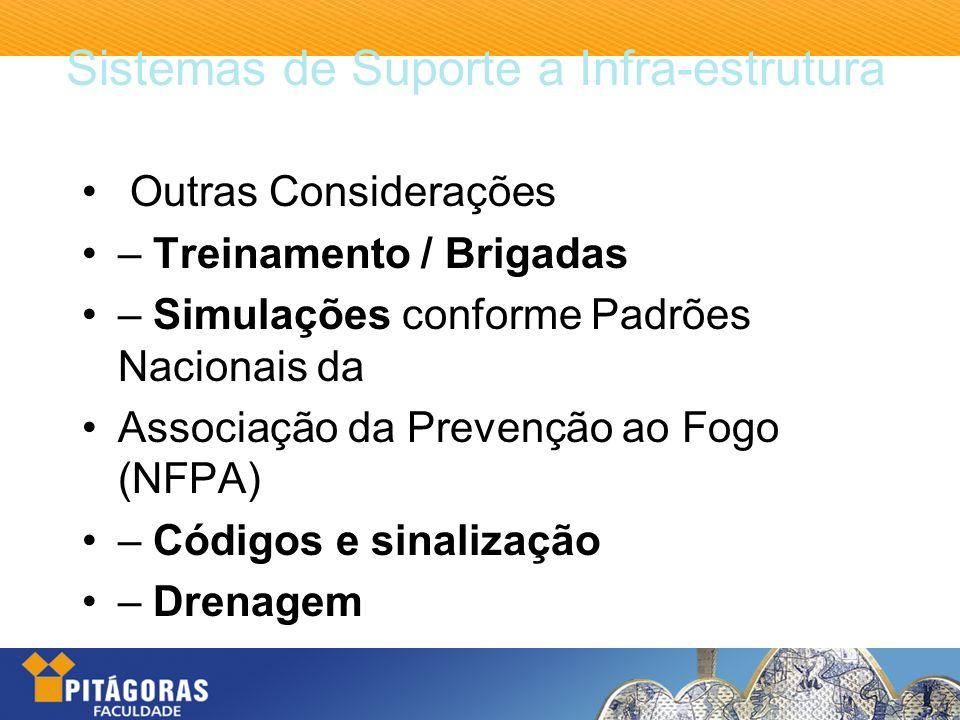 Sistemas de Suporte a Infra-estrutura Outras Considerações – Treinamento / Brigadas – Simulações conforme Padrões Nacionais da Associação da Prevenção