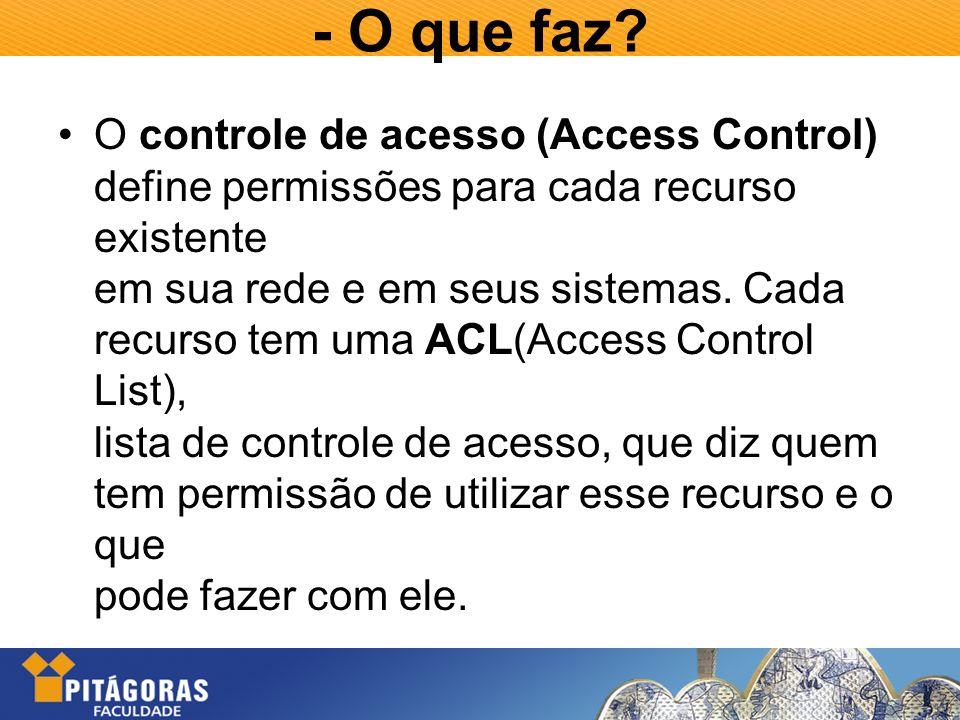 - O que faz? O controle de acesso (Access Control) define permissões para cada recurso existente em sua rede e em seus sistemas. Cada recurso tem uma