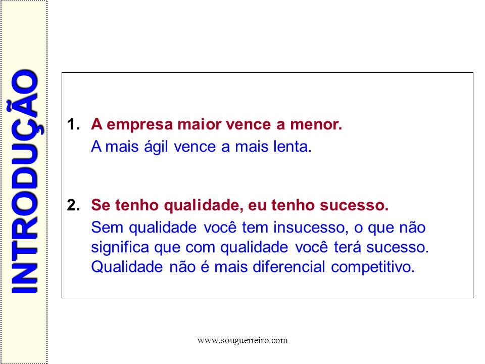 www.souguerreiro.com 1.A empresa maior vence a menor. A mais ágil vence a mais lenta. 2.Se tenho qualidade, eu tenho sucesso. Sem qualidade você tem i