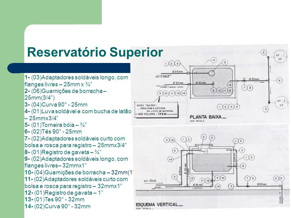 Reservatório Superior 1- (03)Adaptadores soldáveis longo, com flanges livres – 25mm x ¾ 2- (06)Guarnições de borracha – 25mm(3/4) 3- (04)Curva 90° - 25mm 4- (01)Luva soldável e com bucha de latão – 25mmx3/4 5- (01)Torneira bóia – ¾ 6- (02)Tês 90° - 25mm 7- (02)Adaptadores soldáveis curto com bolsa e rosca para registro – 25mmx3/4 8- (01)Registro de gaveta – ¾ 9- (02)Adaptadores soldáveis longo, com flanges livres– 32mmx1 10- (04)Guarnições de borracha – 32mm(1) 11- (02)Adaptadores soldáveis curto com bolsa e rosca para registro – 32mmx1 12- (01)Registro de gaveta – 1 13- (01)Tes 90° - 32mm 14- (02)Curva 90° - 32mm