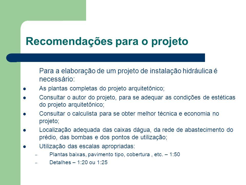 Recomendações para o projeto Para a elaboração de um projeto de instalação hidráulica é necessário: As plantas completas do projeto arquitetônico; Con
