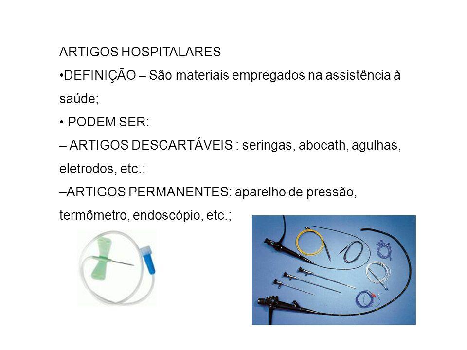 ARTIGOS HOSPITALARES DEFINIÇÃO – São materiais empregados na assistência à saúde; PODEM SER: – ARTIGOS DESCARTÁVEIS : seringas, abocath, agulhas, elet