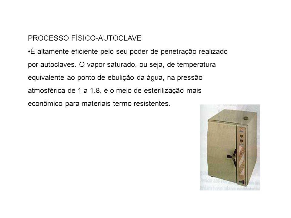 PROCESSO FÍSICO-AUTOCLAVE É altamente eficiente pelo seu poder de penetração realizado por autoclaves. O vapor saturado, ou seja, de temperatura equiv