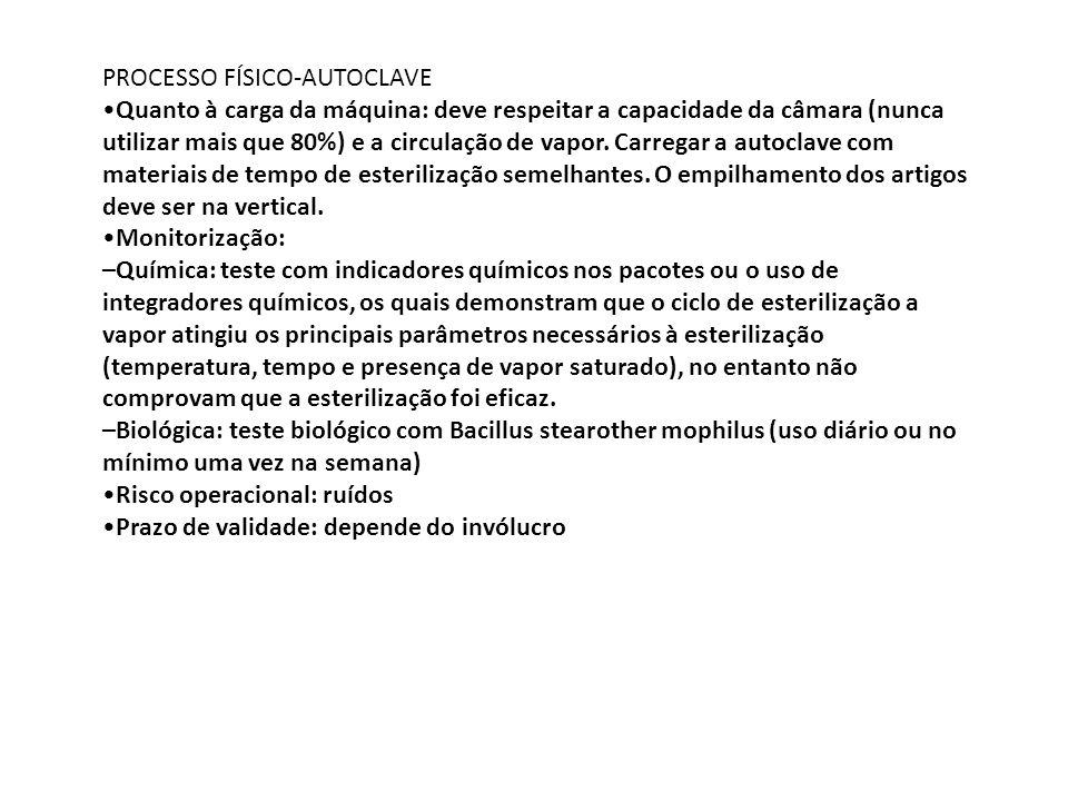 PROCESSO FÍSICO-AUTOCLAVE Quanto à carga da máquina: deve respeitar a capacidade da câmara (nunca utilizar mais que 80%) e a circulação de vapor. Carr