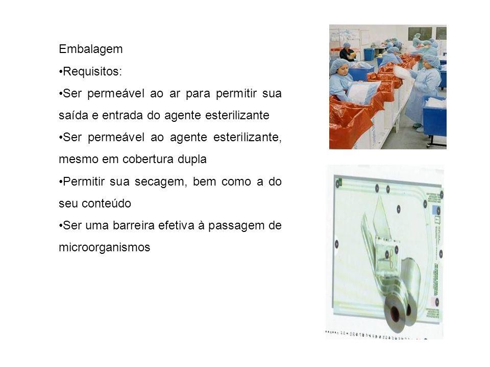 Embalagem Requisitos: Ser permeável ao ar para permitir sua saída e entrada do agente esterilizante Ser permeável ao agente esterilizante, mesmo em co