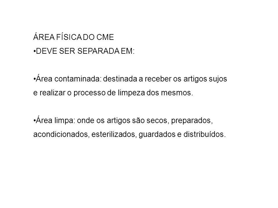 ÁREA FÍSICA DO CME DEVE SER SEPARADA EM: Área contaminada: destinada a receber os artigos sujos e realizar o processo de limpeza dos mesmos. Área limp