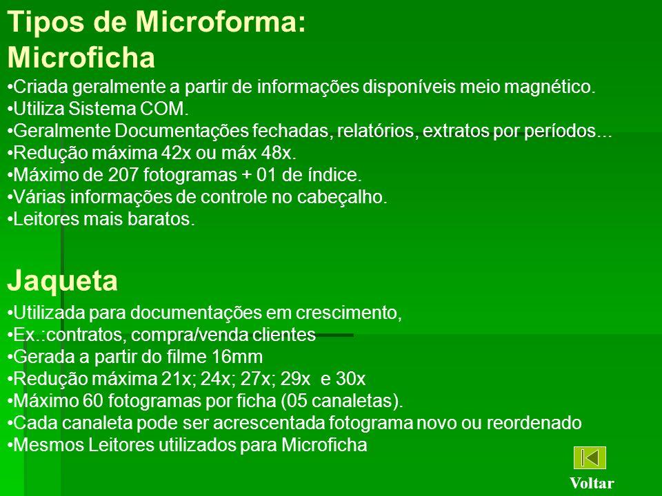 Tipos de Microforma: Microficha Criada geralmente a partir de informações disponíveis meio magnético. Utiliza Sistema COM. Geralmente Documentações fe