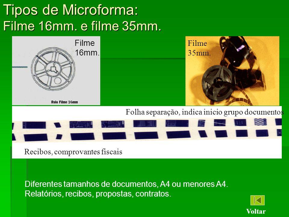Tipos de Microforma: Filme 16mm. e filme 35mm. Filme 35mm. Filme 16mm. Recibos, comprovantes fiscais Diferentes tamanhos de documentos, A4 ou menores