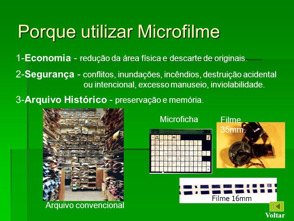 Porque utilizar Microfilme 1-Economia - redução da área física e descarte de originais. 2-Segurança - conflitos, inundações, incêndios, destruição aci