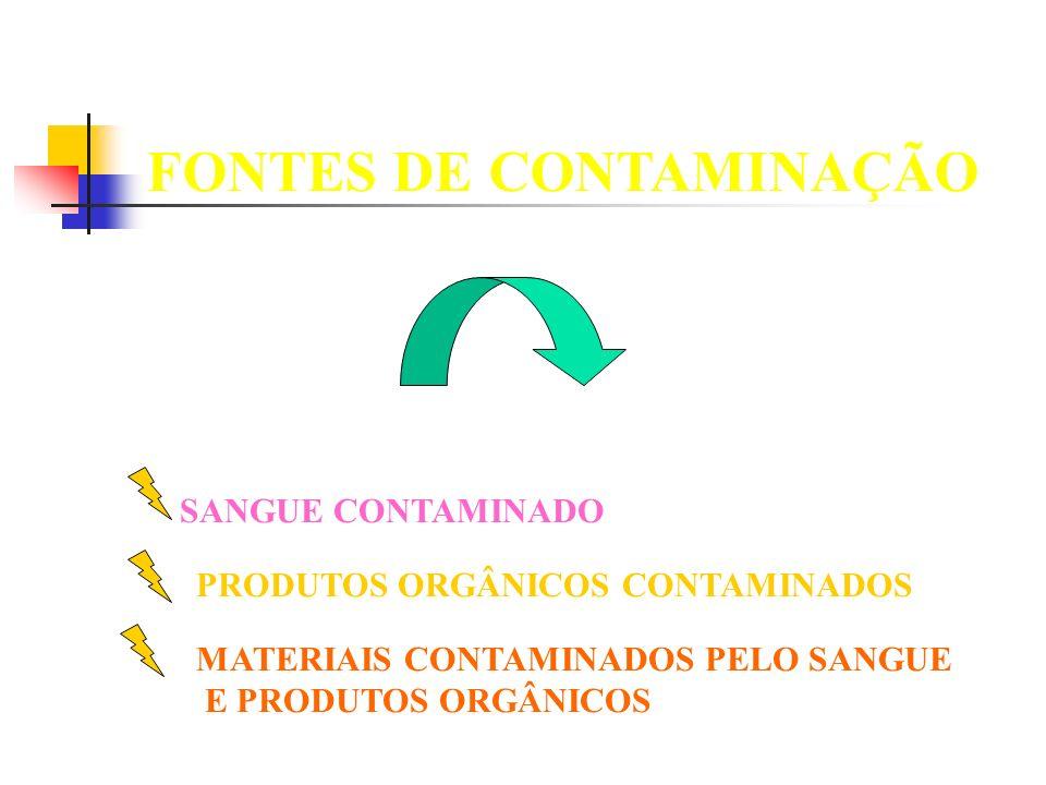SANGUE CONTAMINADO PRODUTOS ORGÂNICOS CONTAMINADOS MATERIAIS CONTAMINADOS PELO SANGUE E PRODUTOS ORGÂNICOS FONTES DE CONTAMINAÇÃO