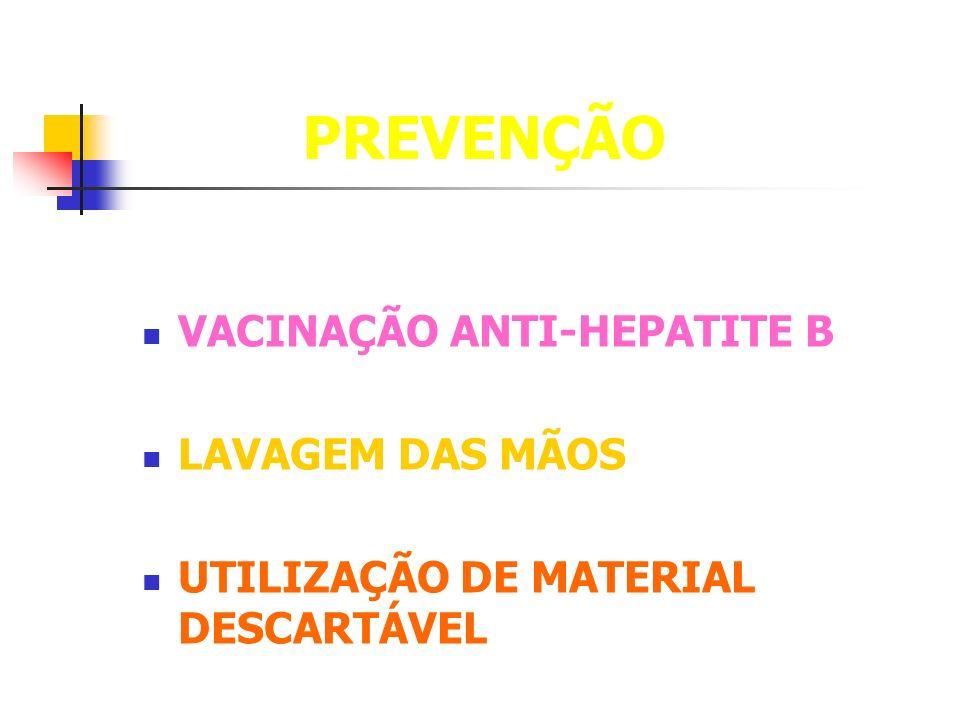 PREVENÇÃO VACINAÇÃO ANTI-HEPATITE B LAVAGEM DAS MÃOS UTILIZAÇÃO DE MATERIAL DESCARTÁVEL