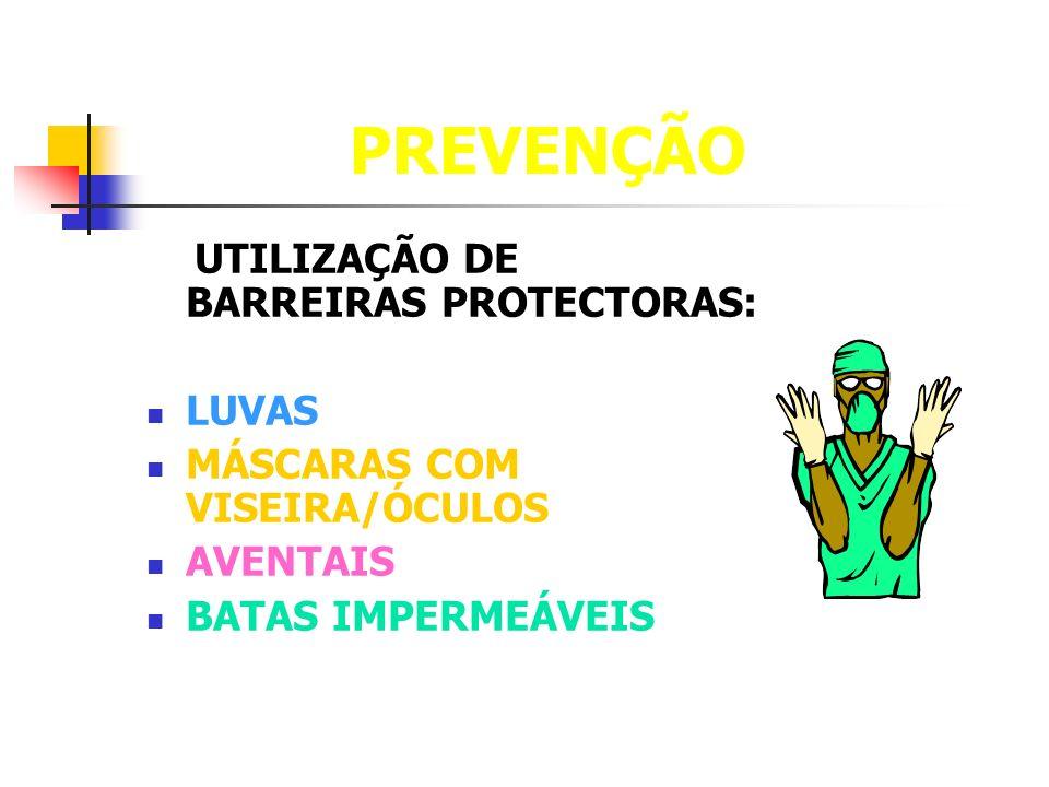 PREVENÇÃO UTILIZAÇÃO DE BARREIRAS PROTECTORAS: LUVAS MÁSCARAS COM VISEIRA/ÓCULOS AVENTAIS BATAS IMPERMEÁVEIS