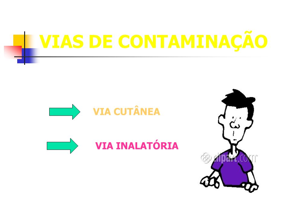 VIAS DE CONTAMINAÇÃO VIA INALATÓRIA VIA CUTÂNEA