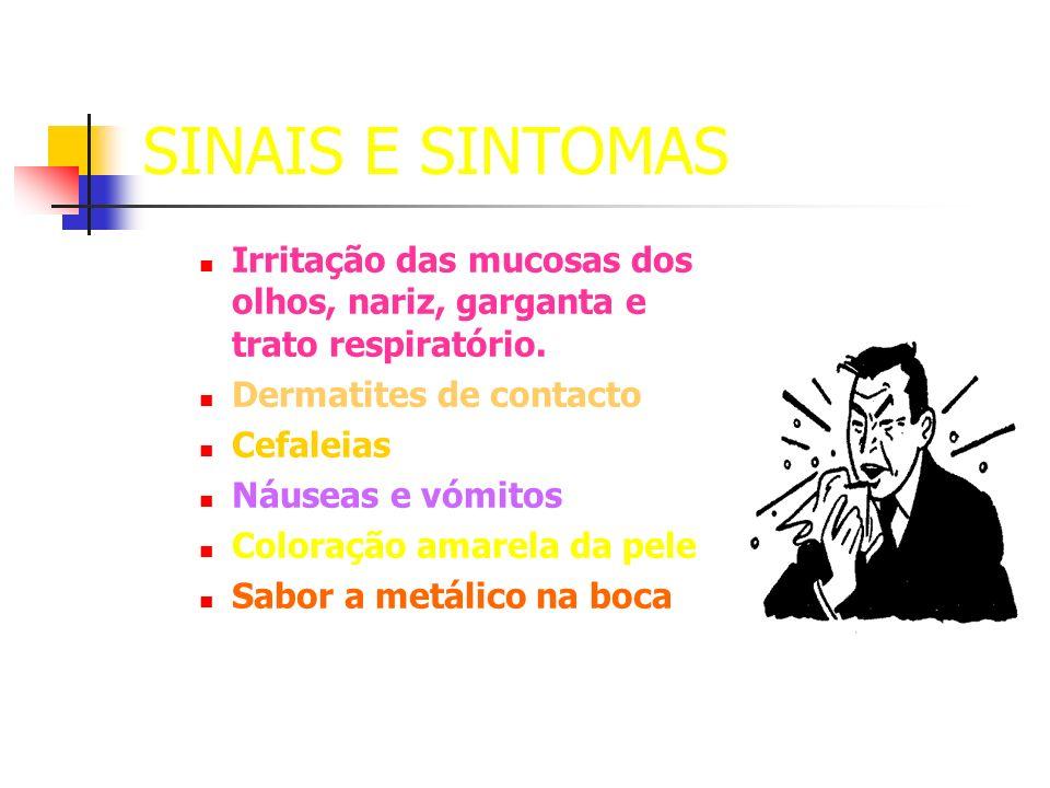 SINAIS E SINTOMAS Irritação das mucosas dos olhos, nariz, garganta e trato respiratório. Dermatites de contacto Cefaleias Náuseas e vómitos Coloração