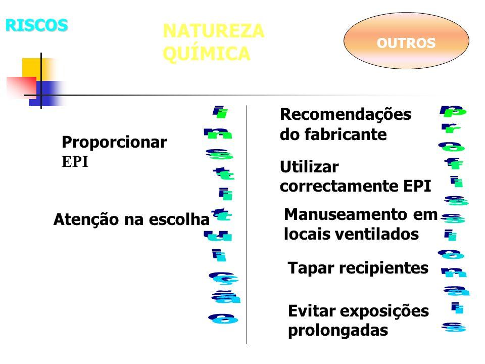 NATUREZA QUÍMICA OUTROS Proporcionar EPI Utilizar correctamente EPI Atenção na escolha Evitar exposições prolongadas Tapar recipientes Manuseamento em