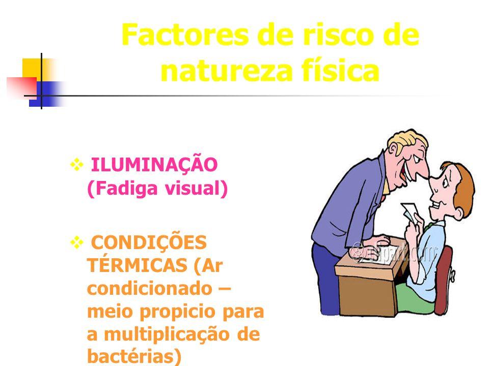 Factores de risco de natureza física ILUMINAÇÃO (Fadiga visual) CONDIÇÕES TÉRMICAS (Ar condicionado – meio propicio para a multiplicação de bactérias)