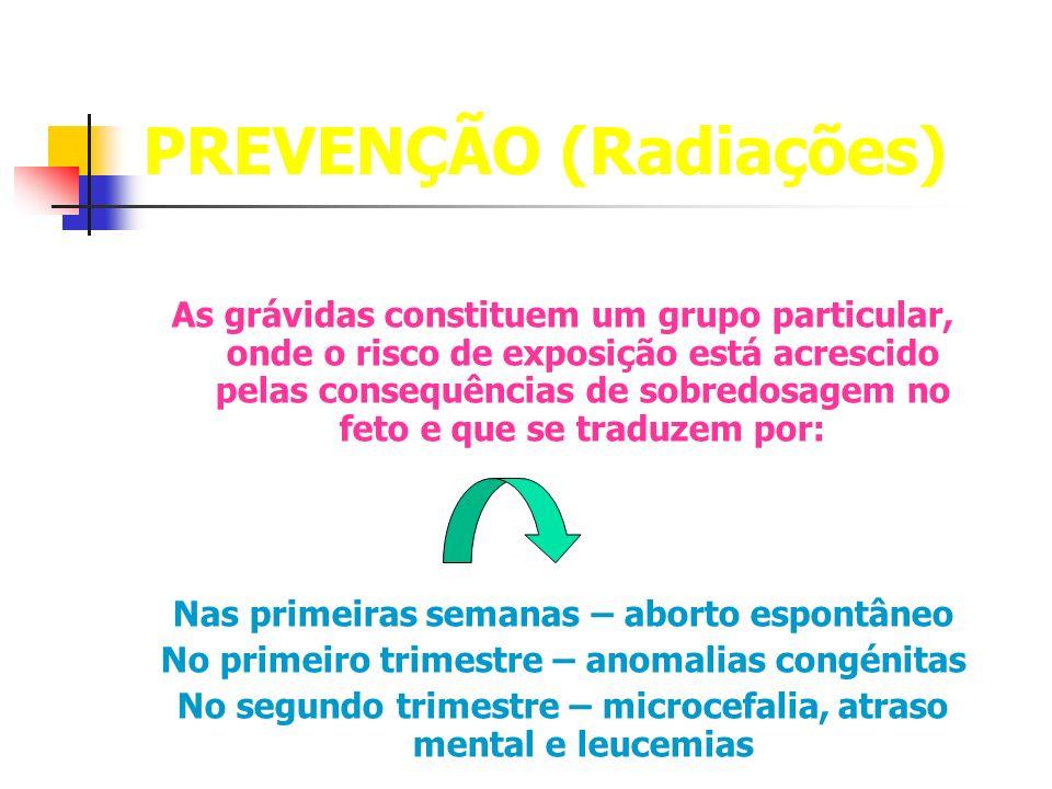 PREVENÇÃO (Radiações) As grávidas constituem um grupo particular, onde o risco de exposição está acrescido pelas consequências de sobredosagem no feto