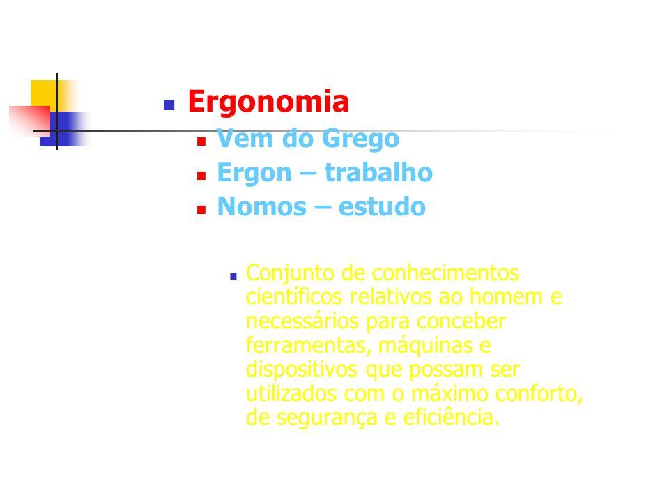 Ergonomia Vem do Grego Ergon – trabalho Nomos – estudo Conjunto de conhecimentos científicos relativos ao homem e necessários para conceber ferramenta