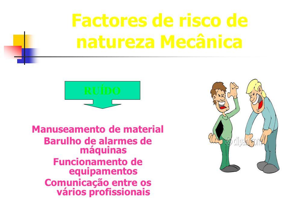 Factores de risco de natureza Mecânica Manuseamento de material Barulho de alarmes de máquinas Funcionamento de equipamentos Comunicação entre os vári