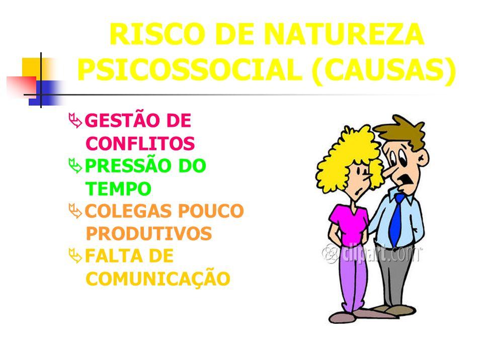 RISCO DE NATUREZA PSICOSSOCIAL (CAUSAS) GESTÃO DE CONFLITOS PRESSÃO DO TEMPO COLEGAS POUCO PRODUTIVOS FALTA DE COMUNICAÇÃO