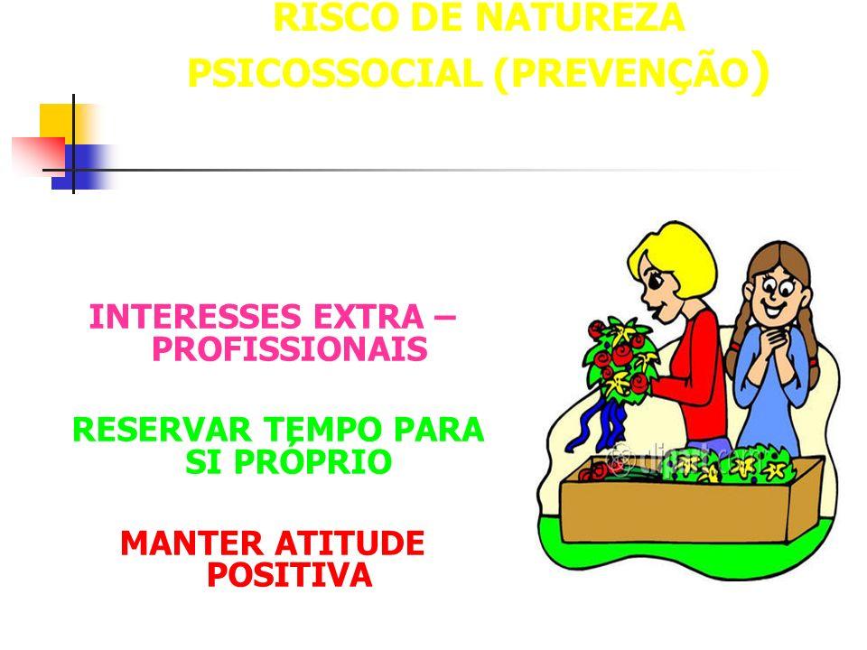 RISCO DE NATUREZA PSICOSSOCIAL (PREVENÇÃO ) INTERESSES EXTRA – PROFISSIONAIS RESERVAR TEMPO PARA SI PRÓPRIO MANTER ATITUDE POSITIVA