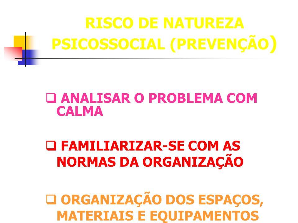 RISCO DE NATUREZA PSICOSSOCIAL (PREVENÇÃO ) ANALISAR O PROBLEMA COM CALMA FAMILIARIZAR-SE COM AS NORMAS DA ORGANIZAÇÃO ORGANIZAÇÃO DOS ESPAÇOS, MATERI