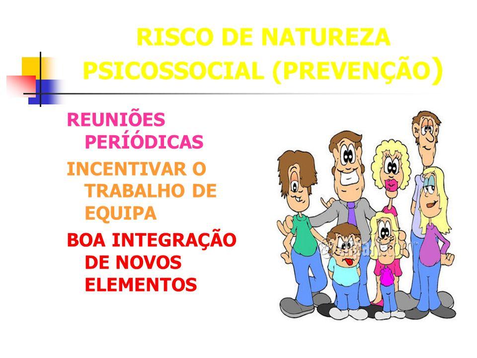 RISCO DE NATUREZA PSICOSSOCIAL (PREVENÇÃO ) REUNIÕES PERÍÓDICAS INCENTIVAR O TRABALHO DE EQUIPA BOA INTEGRAÇÃO DE NOVOS ELEMENTOS