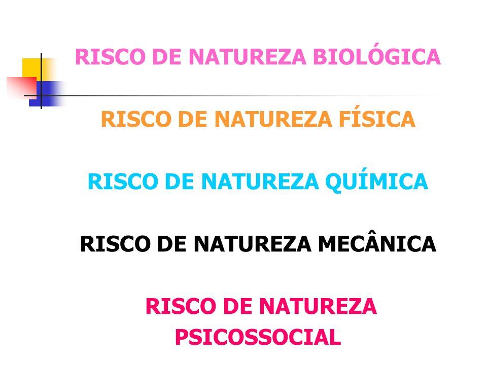 RISCO DE NATUREZA BIOLÓGICA RISCO DE NATUREZA FÍSICA RISCO DE NATUREZA QUÍMICA RISCO DE NATUREZA MECÂNICA RISCO DE NATUREZA PSICOSSOCIAL
