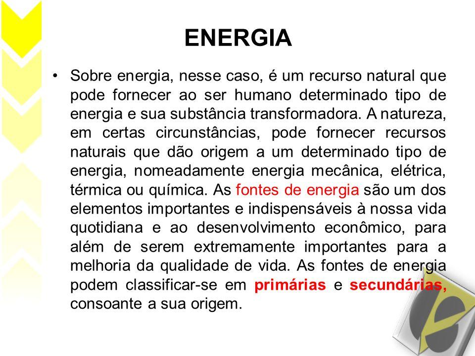 ENERGIA Sobre energia, nesse caso, é um recurso natural que pode fornecer ao ser humano determinado tipo de energia e sua substância transformadora. A