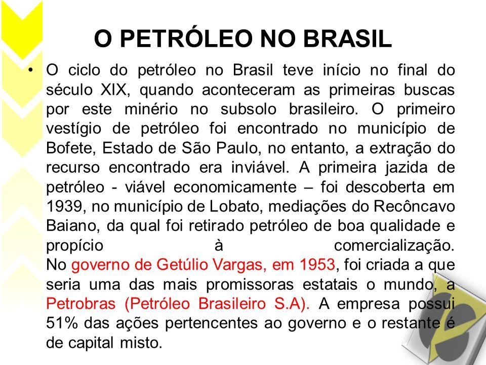 O PETRÓLEO NO BRASIL O ciclo do petróleo no Brasil teve início no final do século XIX, quando aconteceram as primeiras buscas por este minério no subs