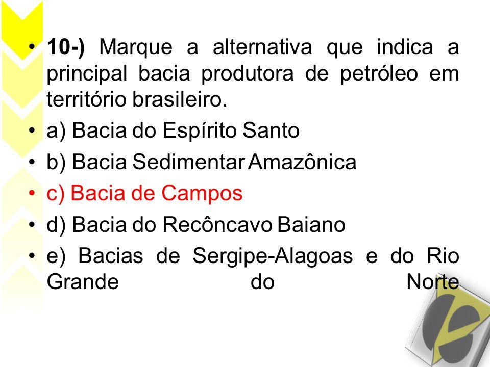 10-) Marque a alternativa que indica a principal bacia produtora de petróleo em território brasileiro. a) Bacia do Espírito Santo b) Bacia Sedimentar