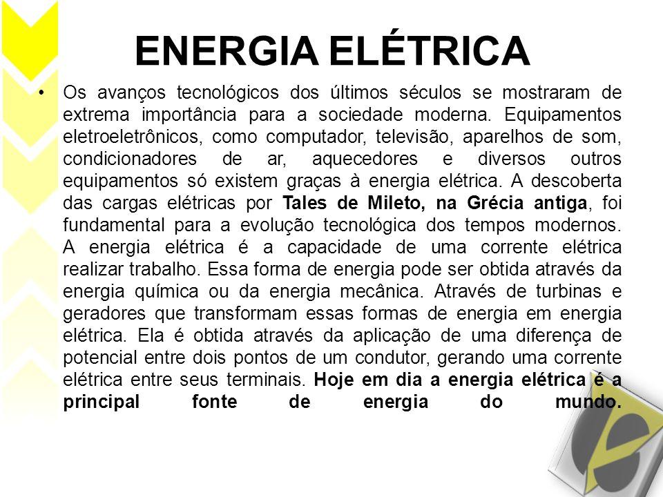 ENERGIA ELÉTRICA Os avanços tecnológicos dos últimos séculos se mostraram de extrema importância para a sociedade moderna. Equipamentos eletroeletrôni
