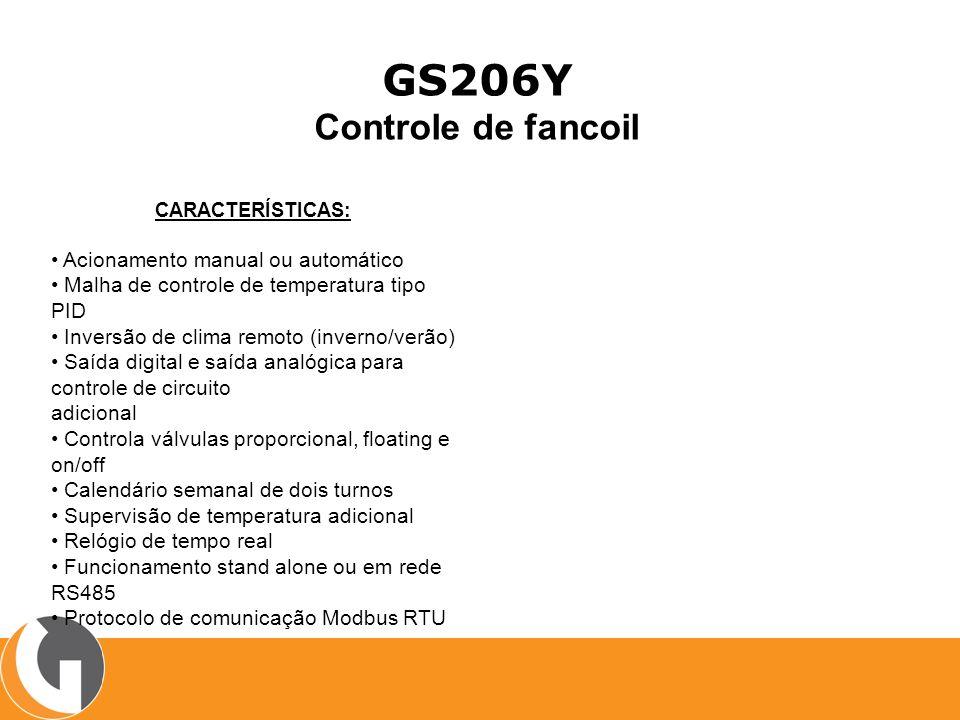 GS206Y Controle de fancoil CARACTERÍSTICAS: Acionamento manual ou automático Malha de controle de temperatura tipo PID Inversão de clima remoto (inver