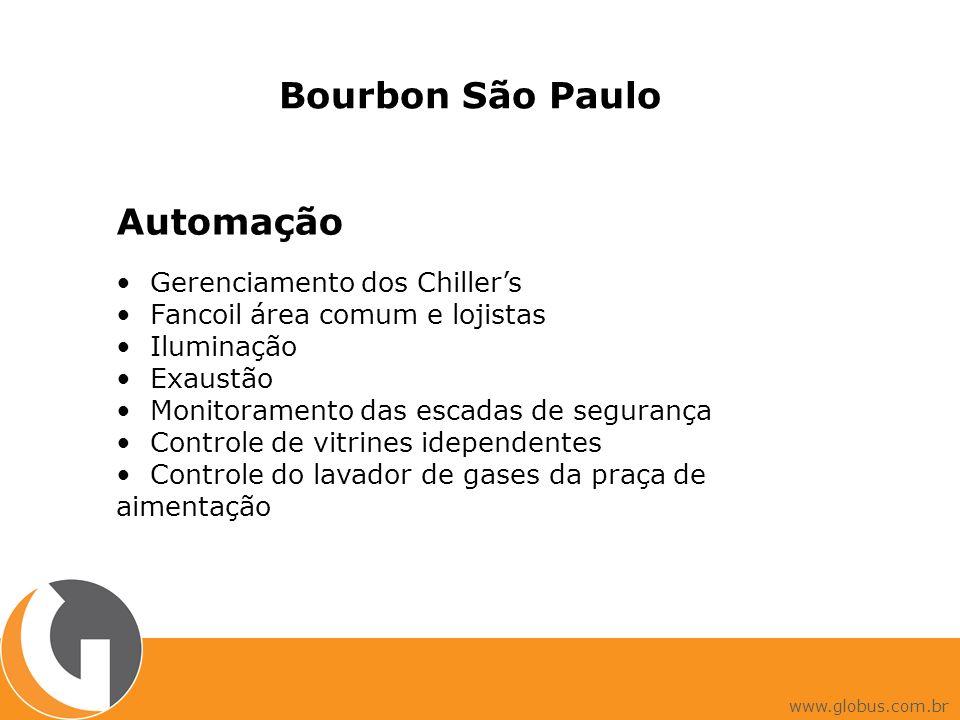 Bourbon São Paulo Automação Gerenciamento dos Chillers Fancoil área comum e lojistas Iluminação Exaustão Monitoramento das escadas de segurança Controle de vitrines idependentes Controle do lavador de gases da praça de aimentação www.globus.com.br