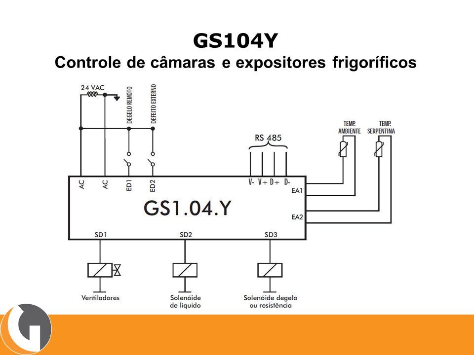 GS105Y Controle de tunéis de Congelamento, Câmaras e Expositores de média e baixa temperatura CARACTERÍSTICAS: Degelo por tempo ou por temperatura Dois sensores de temperatura Opção de degelo via controle externo Até 8 horários de degelo Ciclo de refrigeração, degelo, escoamento e pré-resfriamento Acionamento escalonado Paradas programadas Monitoramento de porta de camara Funcionamento stand alone ou em rede RS485 Protocolo de comunicação Modbus RTU