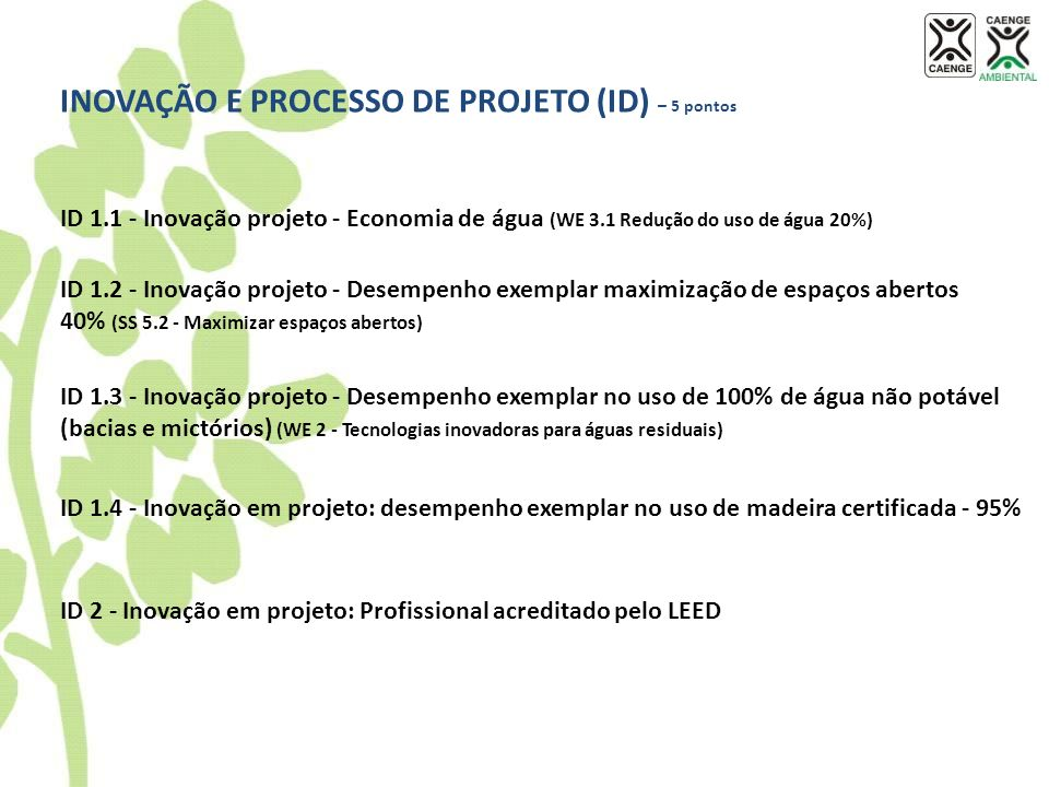 INOVAÇÃO E PROCESSO DE PROJETO (ID) – 5 pontos ID 1.1 - Inovação projeto - Economia de água (WE 3.1 Redução do uso de água 20%) ID 1.2 - Inovação proj