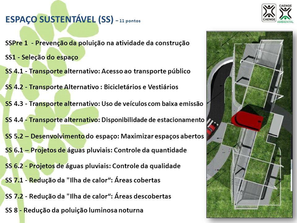 ESPAÇO SUSTENTÁVEL (SS) – 11 pontos SSPre 1 - Prevenção da poluição na atividade da construção SS1 - Seleção do espaço SS 4.1 - Transporte alternativo