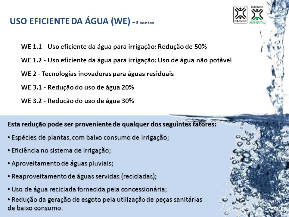 USO EFICIENTE DA ÁGUA (WE) – 5 pontos WE 1.1 - Uso eficiente da água para irrigação: Redução de 50% WE 1.2 - Uso eficiente da água para irrigação: Uso