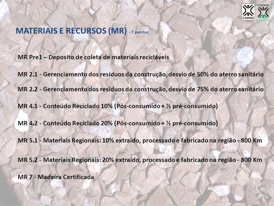 MATERIAIS E RECURSOS (MR) - 7 pontos MR Pre1 – Deposito de coleta de materiais recicláveis MR 2.1 - Gerenciamento dos resíduos da construção, desvio d