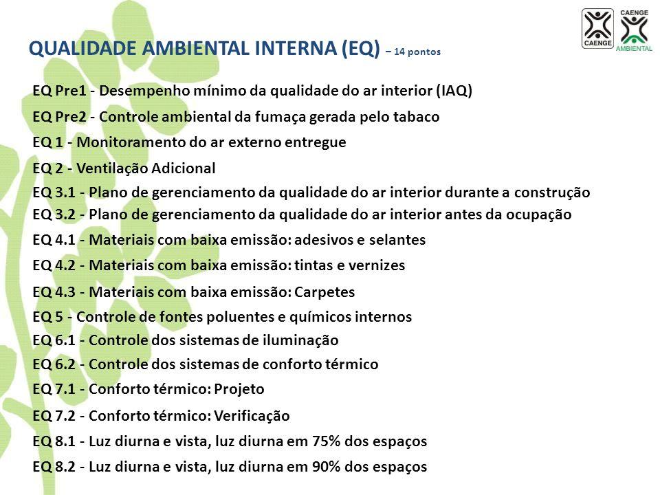 QUALIDADE AMBIENTAL INTERNA (EQ) – 14 pontos EQ Pre1 - Desempenho mínimo da qualidade do ar interior (IAQ) EQ Pre2 - Controle ambiental da fumaça gera