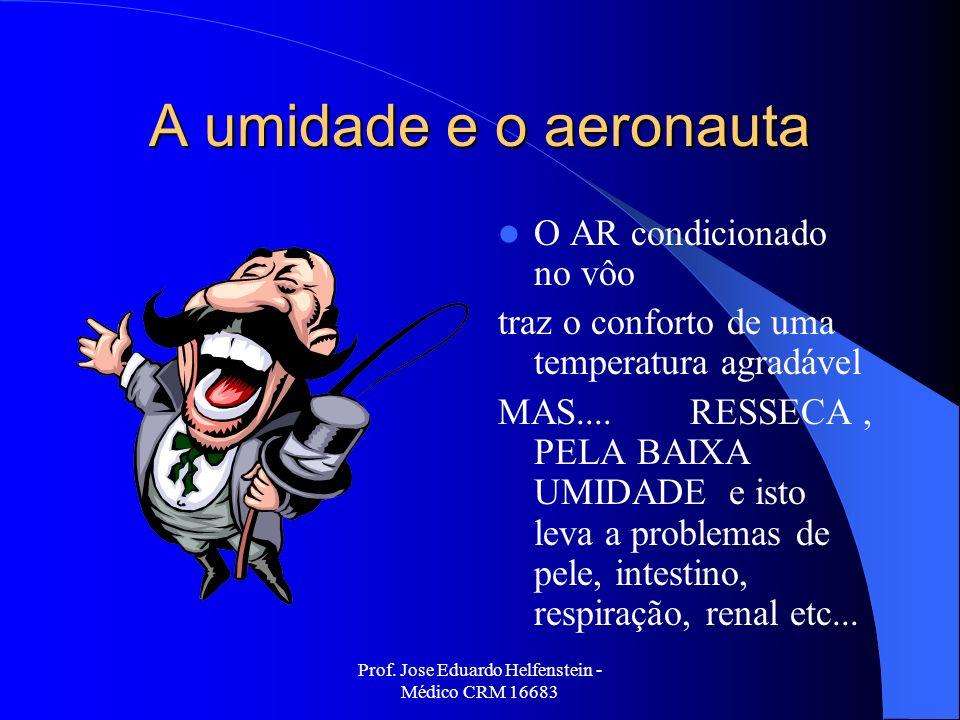 Prof. Jose Eduardo Helfenstein - Médico CRM 16683 A umidade e o aeronauta O AR condicionado no vôo traz o conforto de uma temperatura agradável MAS...