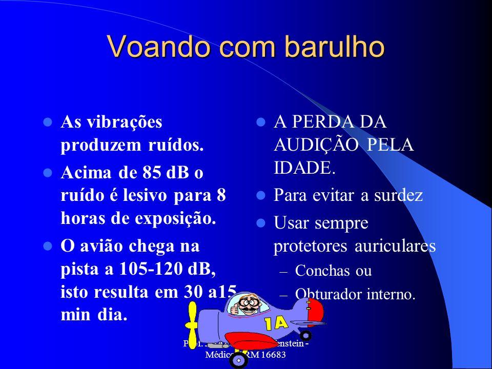 Prof. Jose Eduardo Helfenstein - Médico CRM 16683 Voando com barulho As vibrações produzem ruídos. Acima de 85 dB o ruído é lesivo para 8 horas de exp