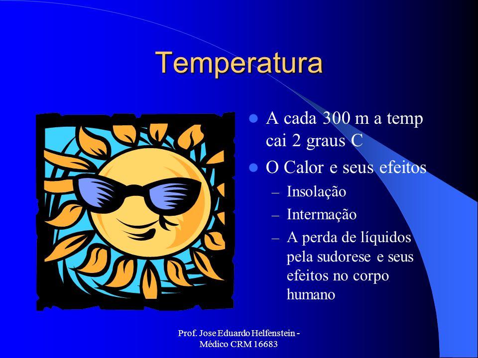 Prof. Jose Eduardo Helfenstein - Médico CRM 16683 Temperatura A cada 300 m a temp cai 2 graus C O Calor e seus efeitos – Insolação – Intermação – A pe