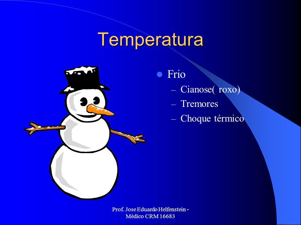 Prof. Jose Eduardo Helfenstein - Médico CRM 16683 Temperatura Frio – Cianose( roxo) – Tremores – Choque térmico